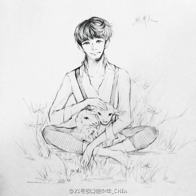 exo手绘笔素描简单