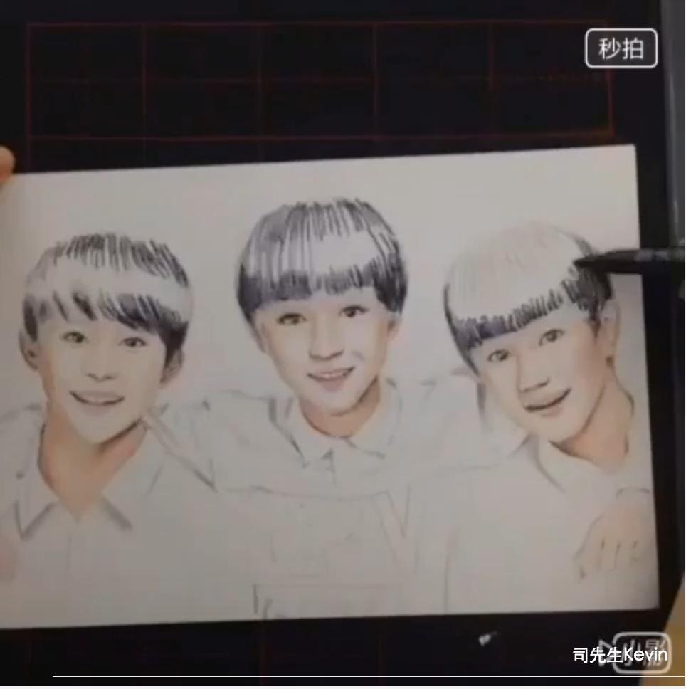 tfboys三人组合彩色手绘