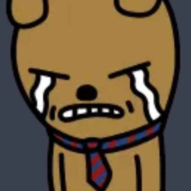 黄褐色皮肤的小熊带着蓝红色的领带,露出一副爱哭包的样子,太可爱