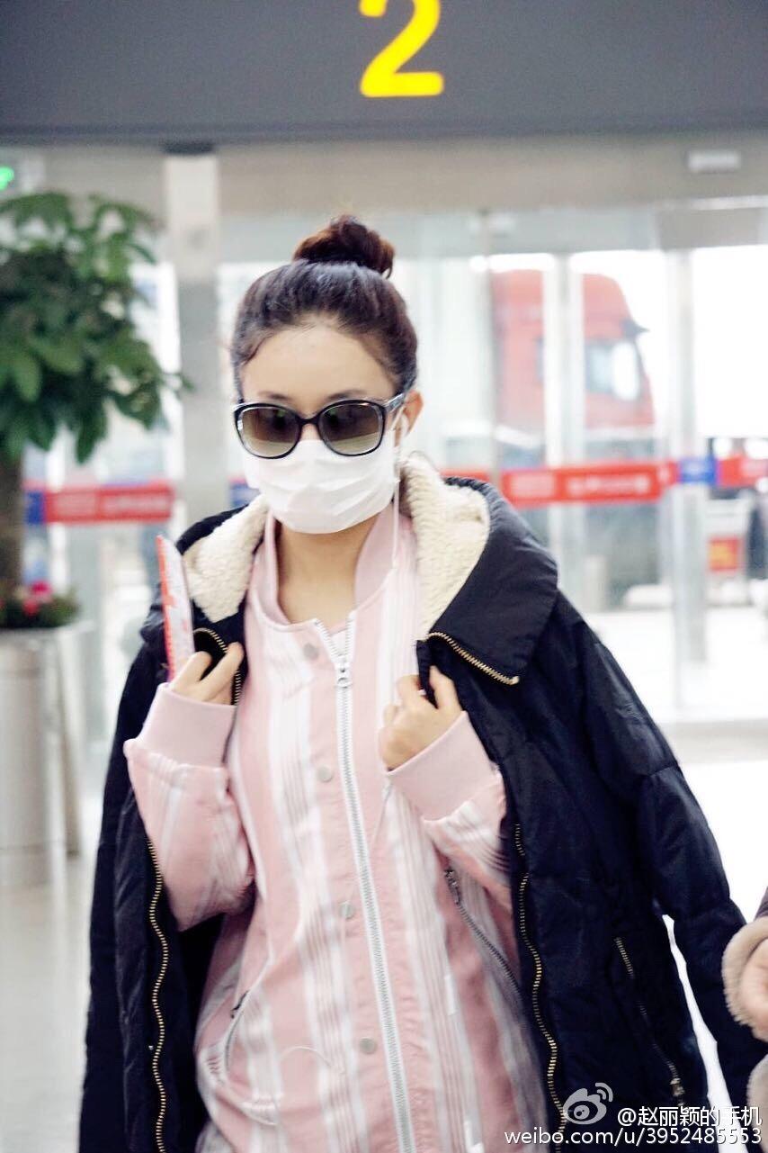 160123 赵丽颖长沙回上海 今天是粉红小可爱