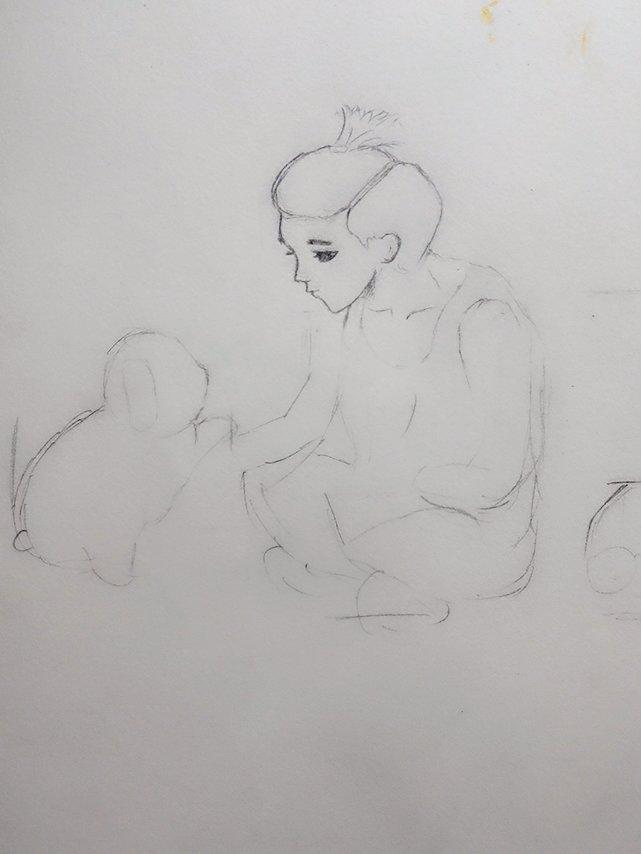 想要一张鹿晗逗小狗的卡通照片 画到一半照片不小心删了 家人们谁有发