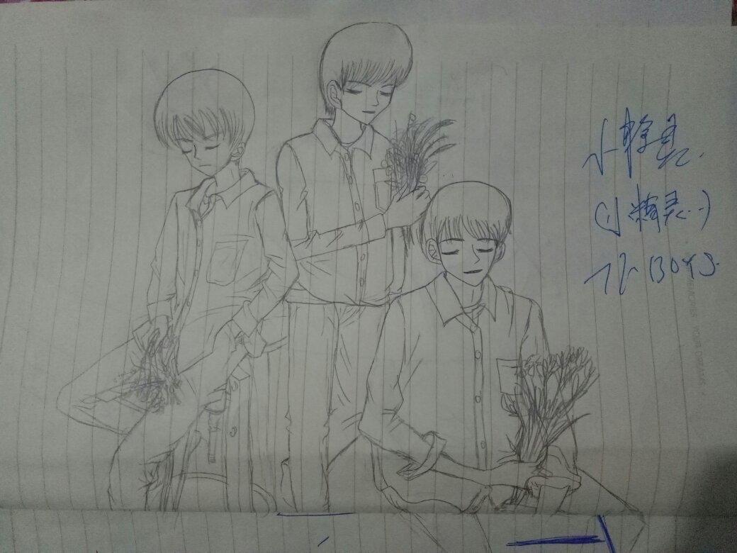 tfboys三人素描笔画