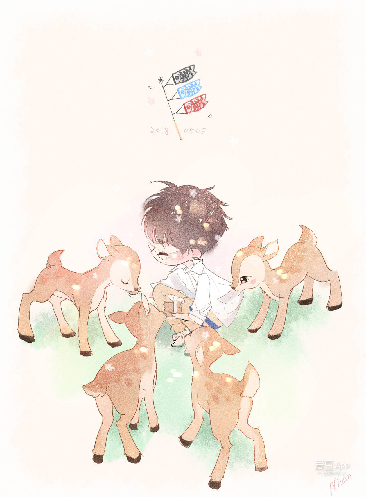 [tfboys][分享]180507 超萌王俊凯饭绘 给小鹿喂食温馨自然