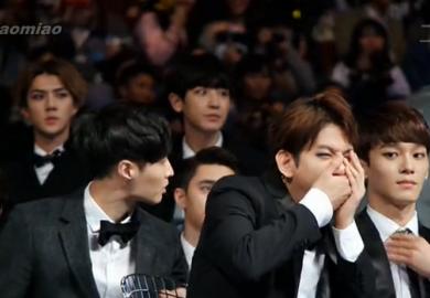 141203 EXO 2014MAMA颁奖礼 台下 各种小萌点