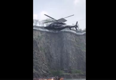 190419【李易峰】李易峰乘坐直升机空降发布会现场