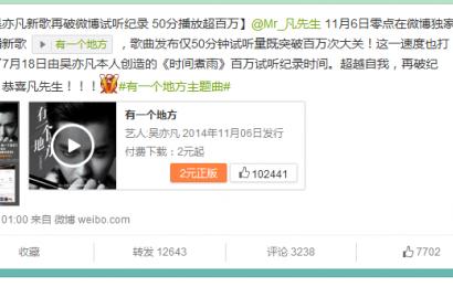 [新闻]141106 吴亦凡新歌再破微博试听纪录 50分钟播放超百万