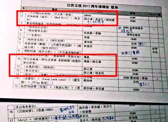[新闻]161230 网曝江苏卫视跨年演唱会节目单 薛之谦将带来多样化的合作舞台