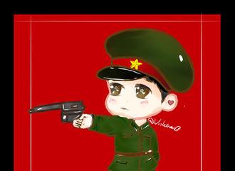 [分享]180320 饭绘军装魏晨哥哥  一手拿枪一手插兜霸气站姿
