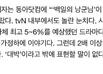 [新闻]181017 《百日的郎君》收视率持续上升 tvN表示:非常震惊!