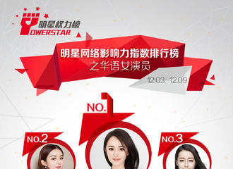 [新闻]181212 第一百八十五期明星权力榜之华语女演员 无剧播的小猴紫杨紫排名第五