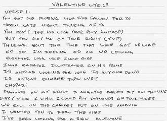 [分享]190219 《Valentine》手写版歌词来了!爵士小可爱噗尼的卡通字体