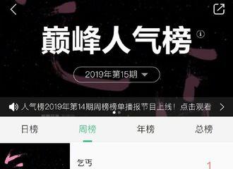 [新闻]190415 QQ音乐巅峰人气榜周榜发布 刘宇宁《乞丐》获得冠军