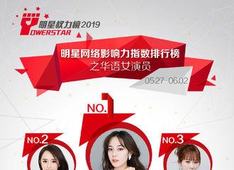 [新闻]190605 明星权力榜华语女演员榜公开 赵丽颖低曝光高人气进入TOP5