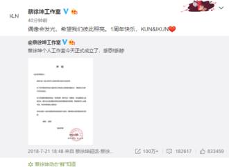 [新闻]190721 蔡徐坤工作室成立一周年 坤坤留言祝生快