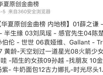 [薛之谦][新闻]190809 7月第5周内地榜汇 薛之谦相关音乐周榜