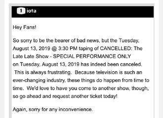 [GOT7][分享]190810 1iota官网发布消息,王嘉尔原定13日《The Late Late Show》录制行程取消