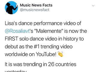 [BLACKPINK][分享]190823 LISA舞蹈视频《Malemente》占据SOLO舞蹈视频一位!登上26个地区趋势