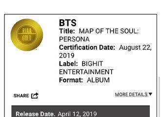 [防弹少年团][分享]190824 《Map Of The Soul:Persona》获美国唱片协会黄金唱片认证!