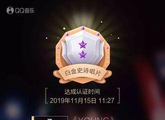 [新闻]191115 蔡徐坤《YOUNG》QQ音乐销售额突破4000万!再次创造新纪录!