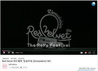 [Red Velvet][分享]191210 RV《Zimzalabim》MV点击量突破6000万!
