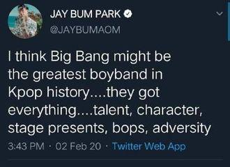 """[分享]200203 歌手朴宰范发文提及BigBang""""他们是Kpop史上最伟大的男团"""""""