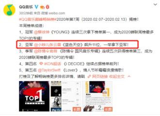[新闻]200214 QQ音乐巅峰畅销榜周榜出炉 张云雷《蓝色天空》排名飙升拿下亚军!