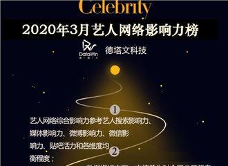 [新闻]200403 3月艺人网络影响力榜top10公开 迪丽热巴凭《枕上书》登上榜单