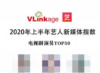 [新闻]200705 2020年上半年艺人新媒体指数榜单公开 一年无剧播出朱一龙依旧位列前十