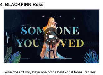 """富二代app[分享]200919 ROSE被选为""""15位拥有最好的声音的kpop主唱""""之一"""