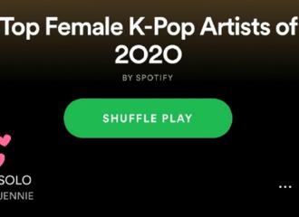 """[分享]201202 JENNIE《SOLO》跻身Spotify """"2020年度最佳女K-Pop歌手辑歌曲""""榜单!"""