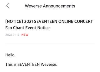 """[分享]210115 SEVENTEEN线上演唱会""""Us,Again""""大合唱EVENT指南公开"""