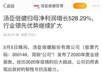 [新闻]210307 蔡徐坤不愧是代言小福星!汤臣倍健2020年战报市场份额全行业第一