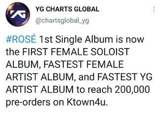 [分享]210308 ROSE SOLO专辑《R》预售量突破20万张...K4首位达成纪录的女SOLO