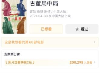 [新闻]210416 备受网友期待 李现主演电影《古董局中局》淘票票想看人数突破20万大关!